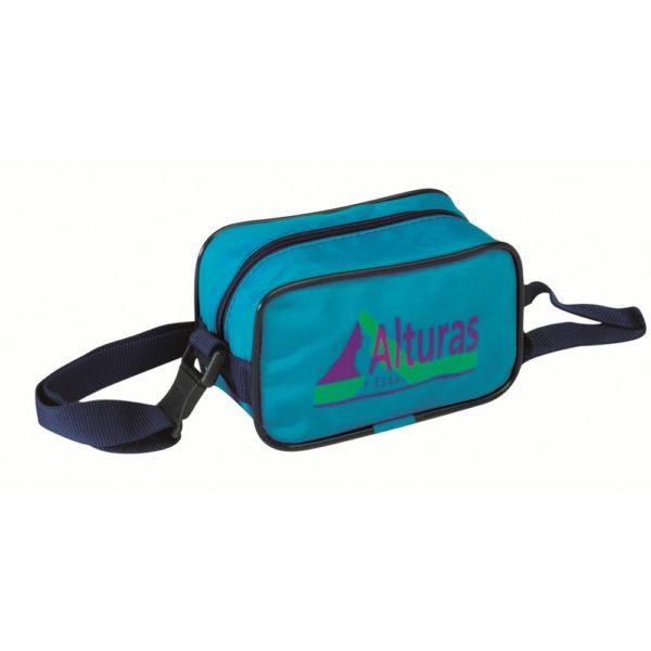 Bolsa riñonera fabricada en nylon para colgar al hombro.